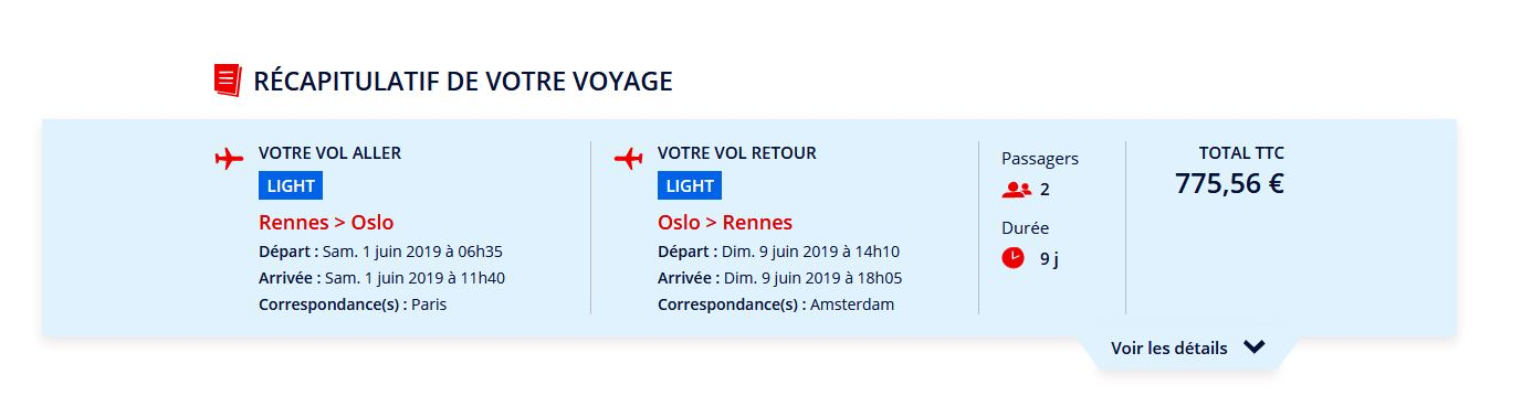 Vol aller Rennes-Oslo- Rennes version juin